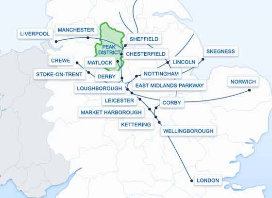 East Midlands Trains Route map