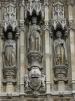 Carvings above the Queens Entrance, Victoria Tower, Houses of Parliament